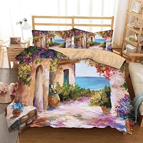 - Landscape Khaki Duvet Cover Set King Size,Old Ancient Village with Colorful Plants and Flower Gate Greek Houses Artwork,Decorative 3 Piece Bedding Set with 2 Pillow Shams,Multicolor