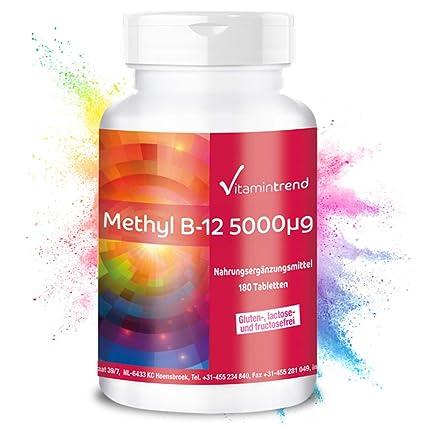 Metilcobalamina 5000mcg – ¡Bote para 6 MESES! – Vitamina B12 altamente dosificada – 180 comprimidos