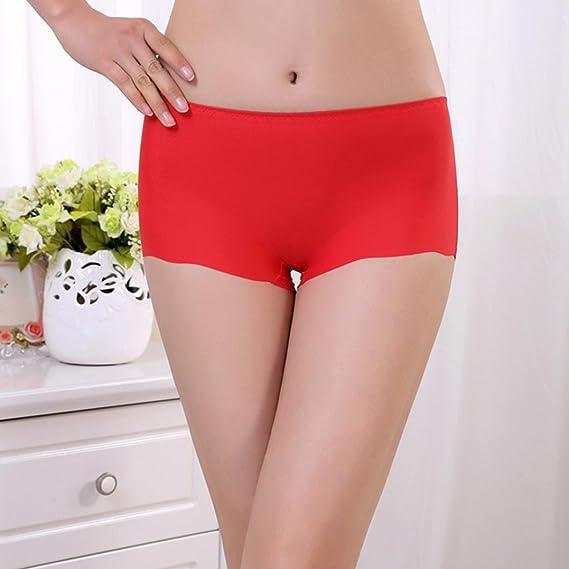 Ropa interior Baonoop Escritos de mujeres Invisible ropa interior Calzoncillos Boxer lycra sin costura entrepierna (Red): Amazon.es: Deportes y aire libre