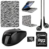 Faux Leather Book Style Folio Protective Cover for Apple Macbook Pro 13.3-inch Laptops + Black VanGoddy Headphones + Black USB Wireless Mouse + 16GB Memory Card (Zebra)