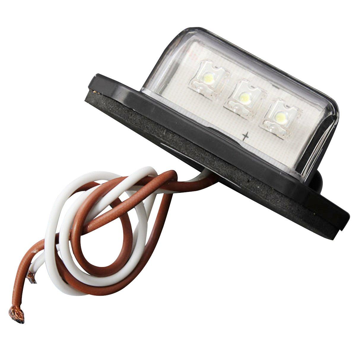 Luz de placa de matricula de coche - SODIAL(R)12/24V 3 LED Luz de etiquetade matricula de coche Lampara de paso interior del camion remolque RV barco 062265