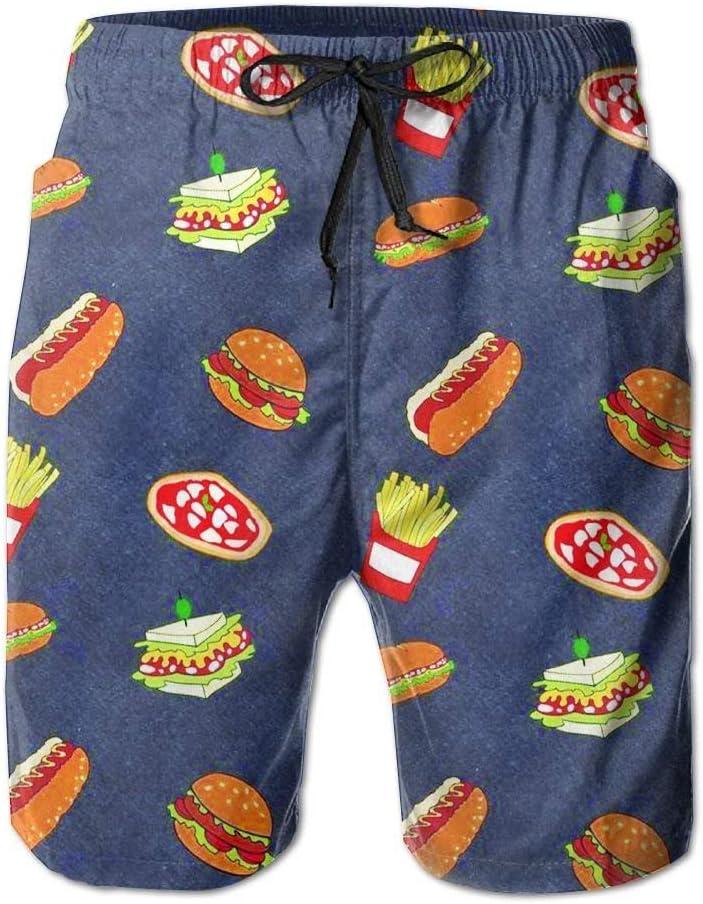 Hamburgers French Fries Mens Lightweight Swimwear Board Short