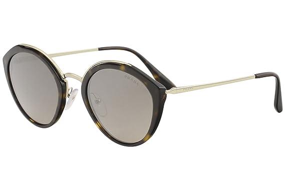 7c146e1d4693 Prada Women's 0PR 18US Havana/Pale Gold/Light Brown Gradient Light Grey  Mirror Silver