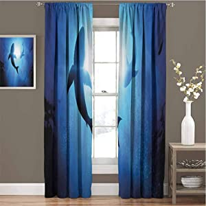 Toopeek Shark Blackout Curtain Underwater World with Fish Silhouettes Circling in The Sea Surreal Ocean Life Print 2 Panels W42 x L72 Inch Royal Blue