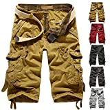 Leward Mens Casual Slim Fit Cotton Solid Multi-Pocket Cargo Camouflage Shorts