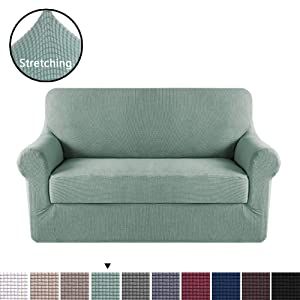 H.VERSAILTEX 2 Pieces Loveseat Slipcovers Stylish Furniture Cover/Protector, Stay in Place with Lycra Spandex Stretch Durable Fabric, Cyan Color