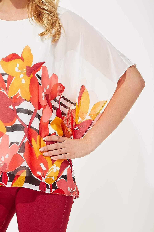 Roman Originals Women Floral Stripe Print Chiffon Top