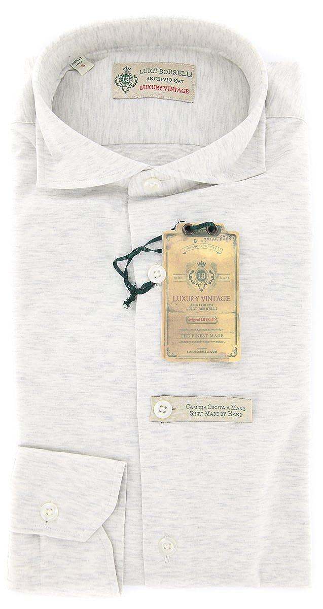 Luigi Borrelli New Light Gray Fancy Extra Slim Shirt S//S