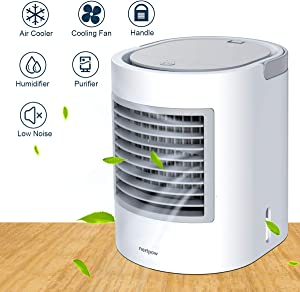 Portable Air Conditioner, Portable Cooler, Nertpow Quick & Easy Way to Cool personal Space, As Seen On TV, Suitable for Bedside, Office and Study Room. Three Wind Level Adjustment