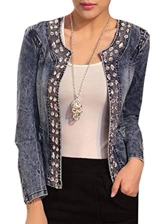 Amazon.com: Mujeres Vintage Rhinestone short denim Chaquetas ...