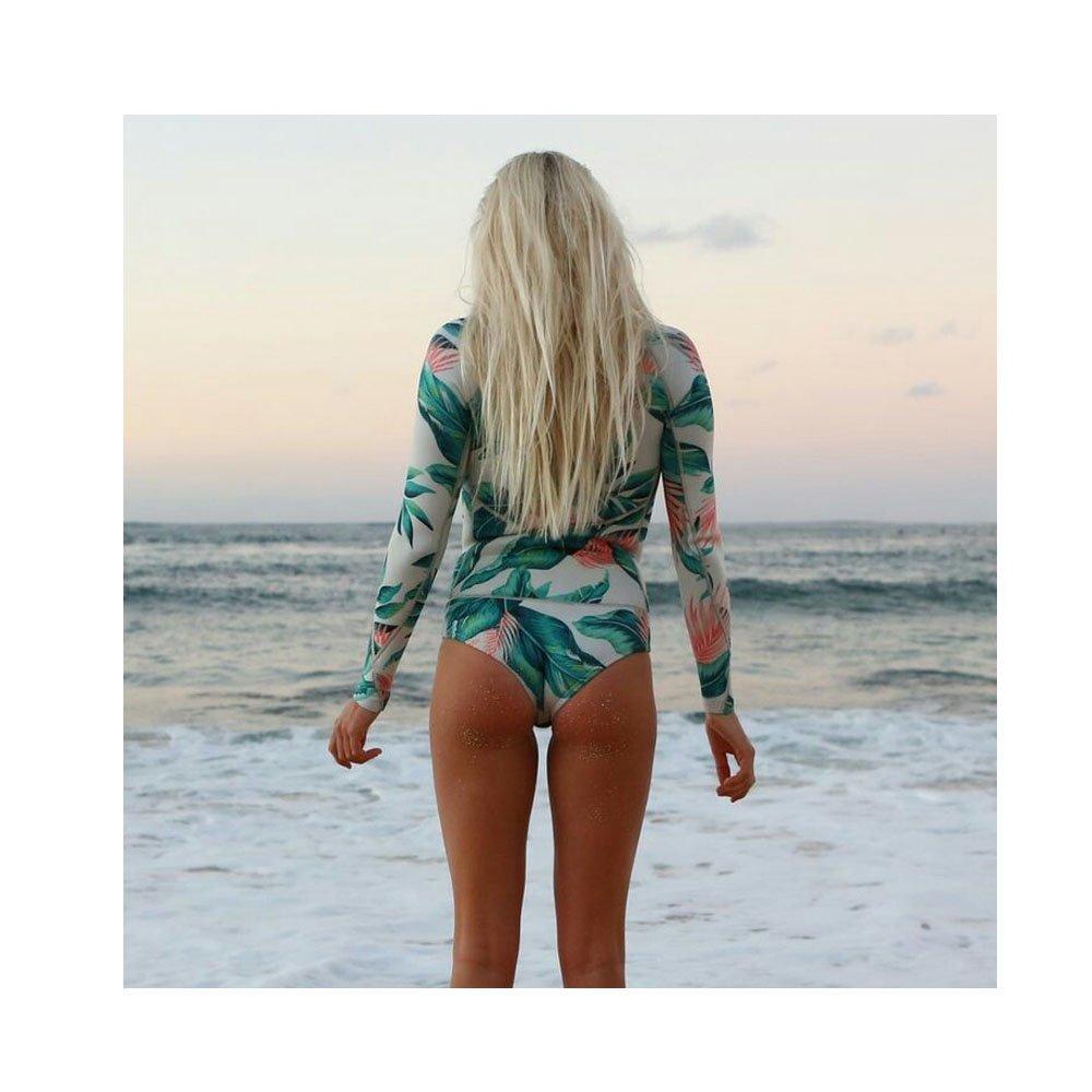 Beachkini Femme Rash Guard 1 Pi/èce Surfing Manches Longues Maillot de Bain