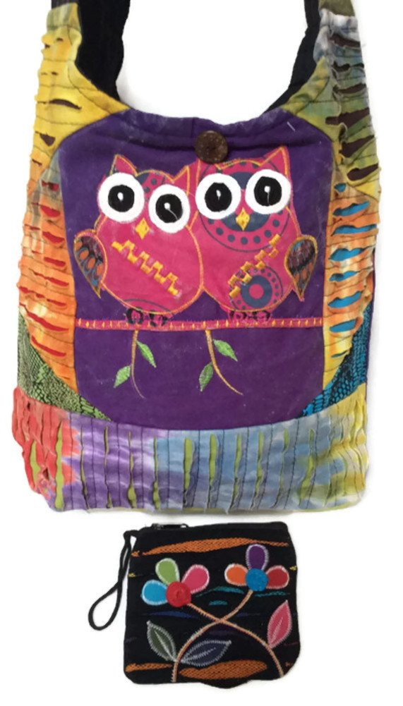 Boho Cross Body Cotton Sling Patchwork Shoulder Bag & Coin / Money Purse Bundle Handcrafted Nepal – Owls & Flowers Design Multi-Color Tie Dye Stonewashed