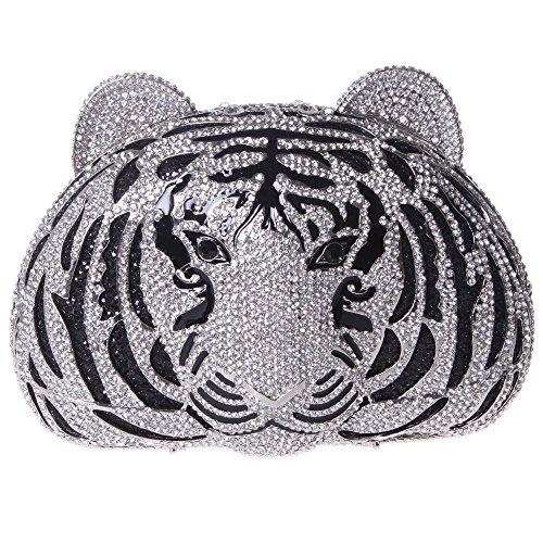 Tiger Clutch (Fawziya Tiger Purse For Women Luxury Rhinestone Clutch Evening Bag-Silver)