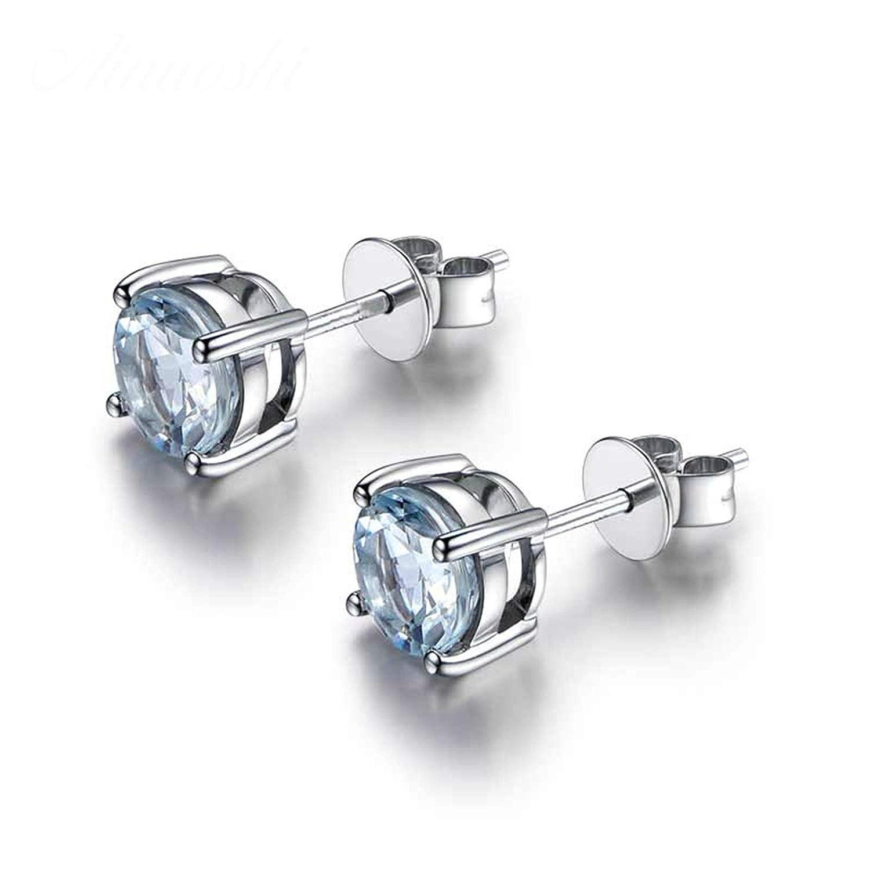 Aooaz Jewelry Material Silver Earrings Round CZ Stud Earrings Silver