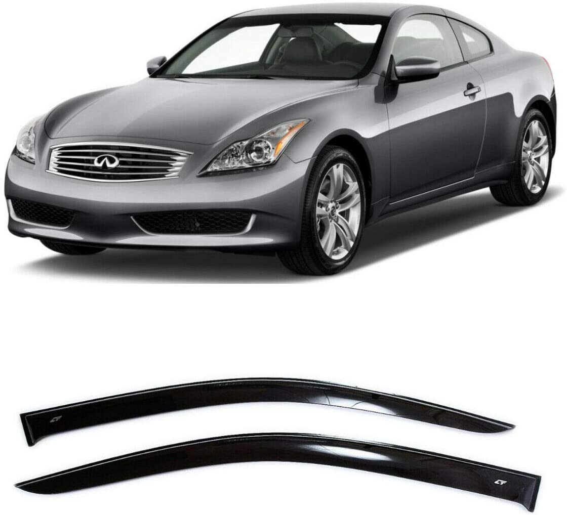 Car Ventvisor Door Side CT Wind Visor Deflectors Set of 2-Piece Dark Smoke Window Air Guard Deflectors for Protection Against Snow Sun and Rain Compatible with Infiniti G37 Coupe 2007-2010