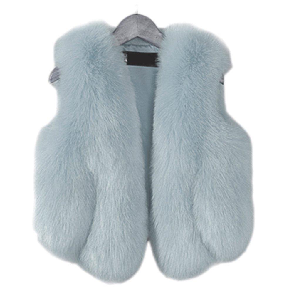 FOLOBE Child Faux Fox Fur Coat Jacket Waistcoat Hot Winter Warm Gilet Kids Outwear Short Slim Vest