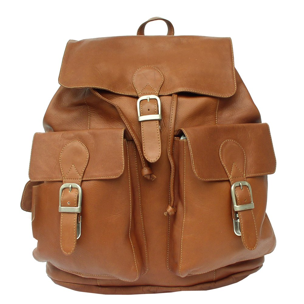 Piel Leather Large Buckle-Flap Backpack, Saddle, One Size by Piel Leather