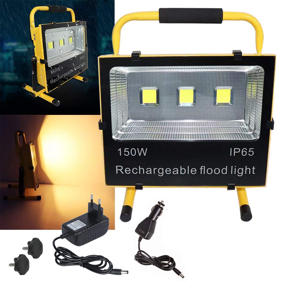 NAIZY 100W Blanc Froid Projecteur LED Rechargeable Construction Spotlight Lampe de Travail Lumi/ère descalade /Éclairage de p/êche Jaune /Étanche IP65 pour Camping P/êche Patio Jardin