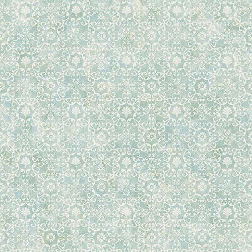Chesapeake DLR54652 Shell Bay Teal Scallop Damask Wallpaper