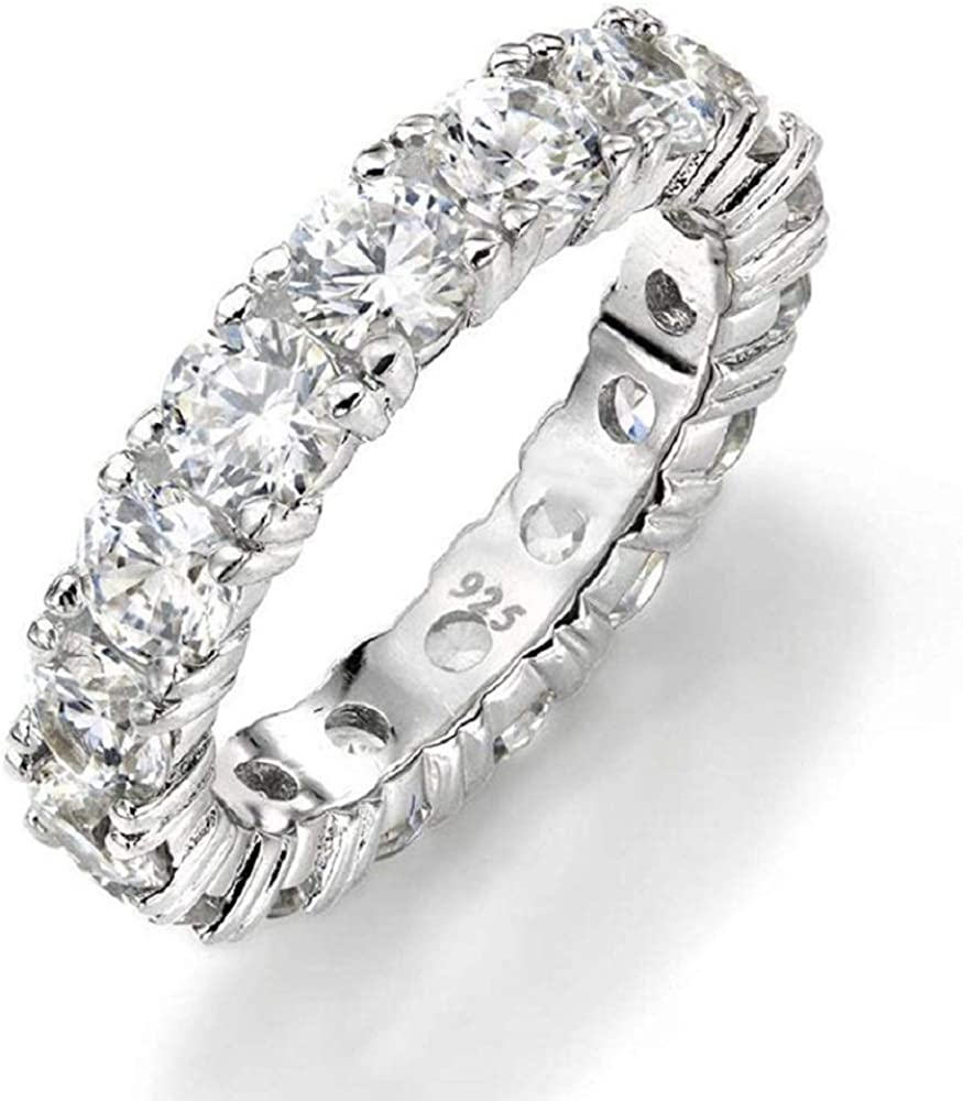Sterling Silver Eternity Band Wedding Ring with Cubic Zirconia
