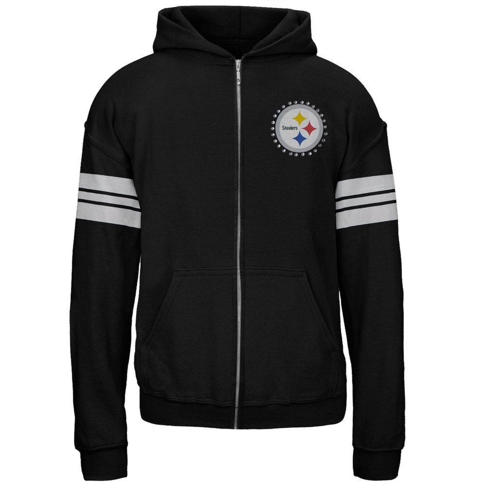 Pittsburgh Steelers - Logo Sport Stripes Girls Youth Zip Hoodie