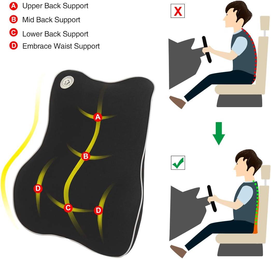 X AUTOHAUX Polyester Car Seat Back Lumbar Rest Pillow Softness Memory Foam Cushion Black