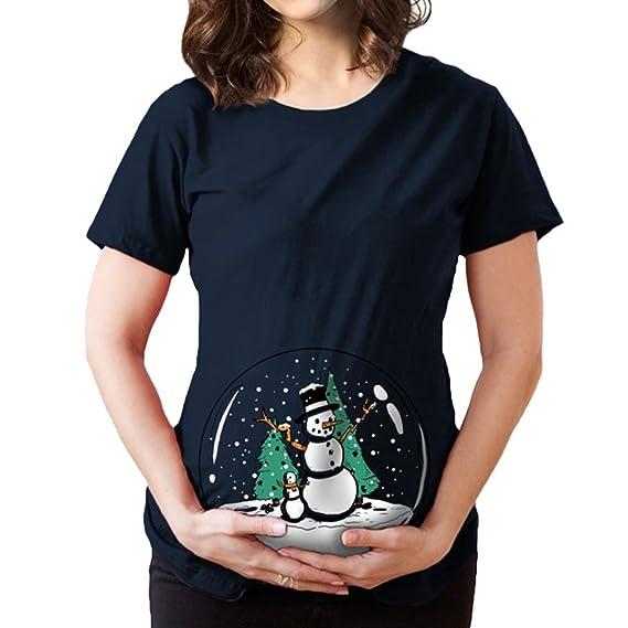 Binhee Mujer Maternidad Manga Corta Cuello Patrón Circular De Muñeco De Nieve Bola Cristal Camiseta De Mujeres Embarazadas: Amazon.es: Ropa y accesorios