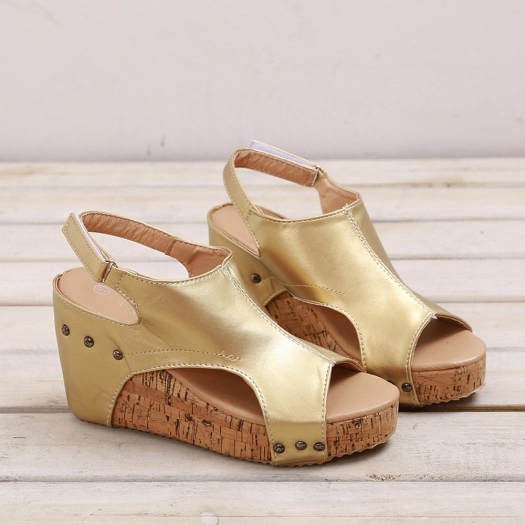 895dca634796fd Women Summer Sandals Round Toe Breathable Rivet Beach Casual Sandals Boho  Wedges Shoes larger image