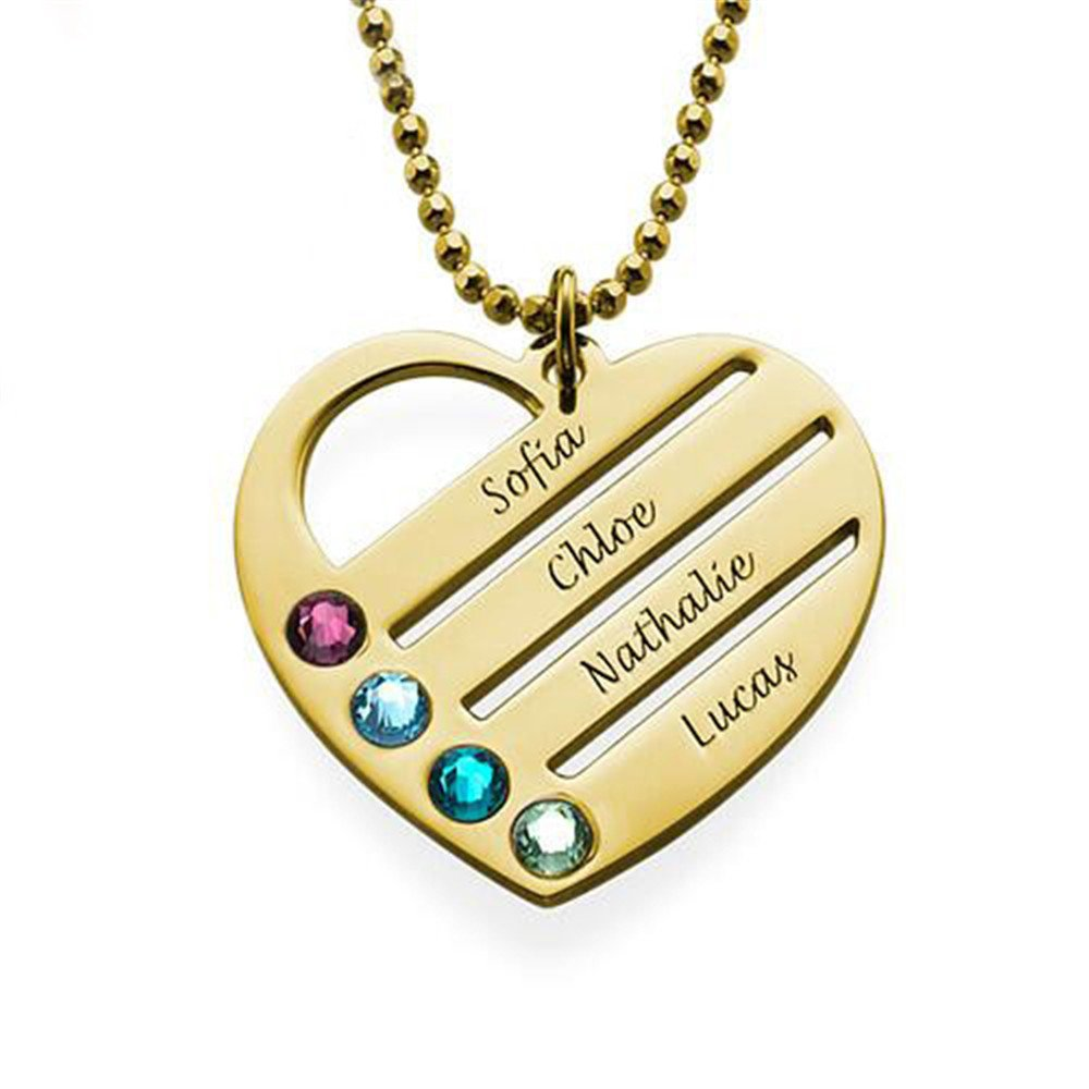 FACOCO Fashion Birthstone Heart-Shaped Necklace Personalized Custom Necklace Engraved with Name of Engraving