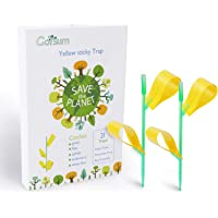 Garsum Insect Trap Yellow Houseplant Sticky Stakes Traps Fly Glue Fungus Gnats Trappers,21 Trap 7 Stakes