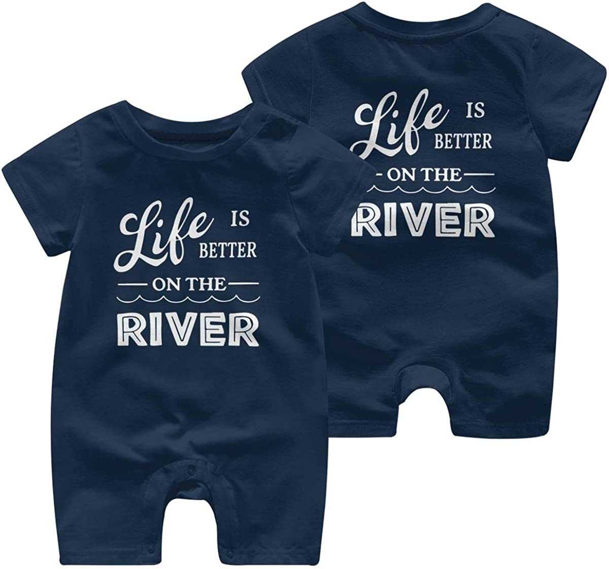 Toddler Baby Boy Girl Jumpsuit Life is Better On The River Kid Pajamas