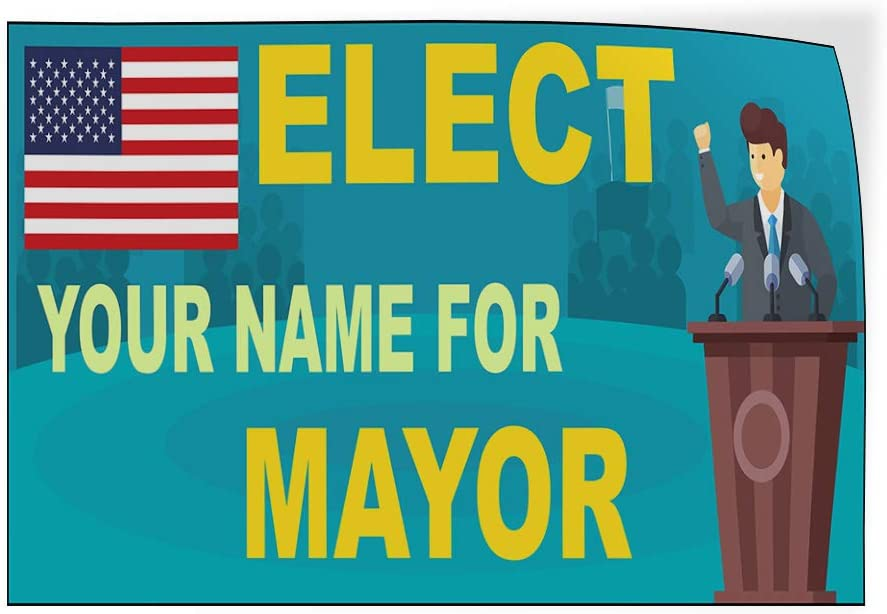 Custom Door Decals Vinyl Stickers Multiple Sizes Elect Name for Position B Political Elect Signs Outdoor Luggage /& Bumper Stickers for Cars Light-Blue 24X16Inches Set of 10