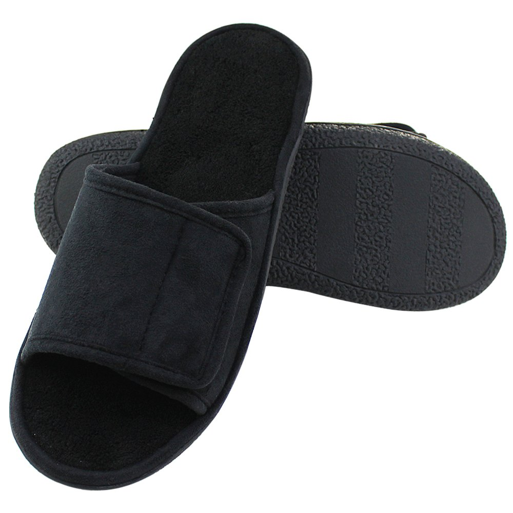 Magtoe Men Washable Faux Suede Adjustable Memory Foam Home Open Toe Indoor Slippers(Large, Black) by Magtoe