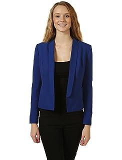 POGTMM Women 3/4 Sleeve Blazer Open Front Cardigan Jacket ...