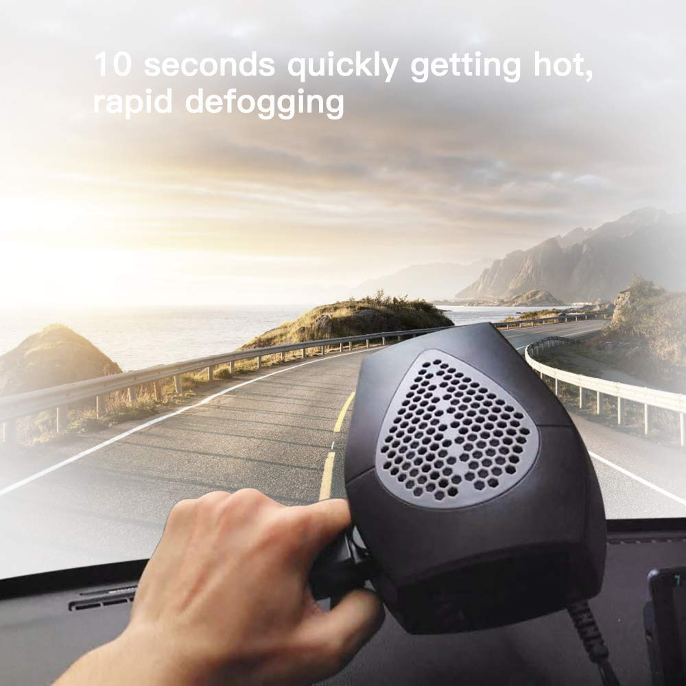 Car Heater,Auto Heater Fan,Car Defogger,Ferryone Fast Heating Quickly Defrosts Defogger 12V 150W Auto Ceramic Heater Fan 3-Outlet Plug in Cig Lighter (Black) by FERRYONE