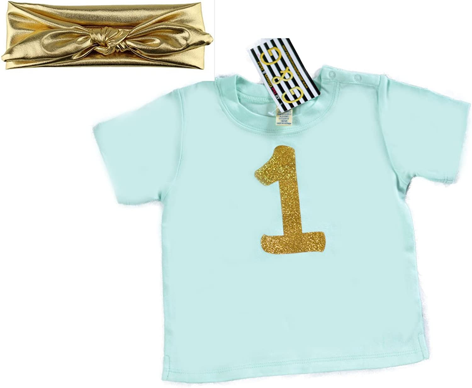 G/&G Cute 2 Pc Baby Girls One Year Old Birthday Shirt and Headband Mint Gold