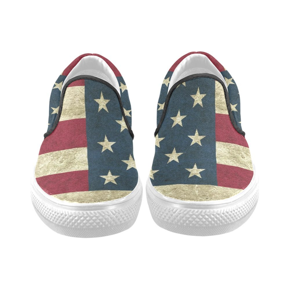 161ffa8aac9c9 Amazon.com | Men Canvas Shoes D-Story Custom Vintage America Flag ...