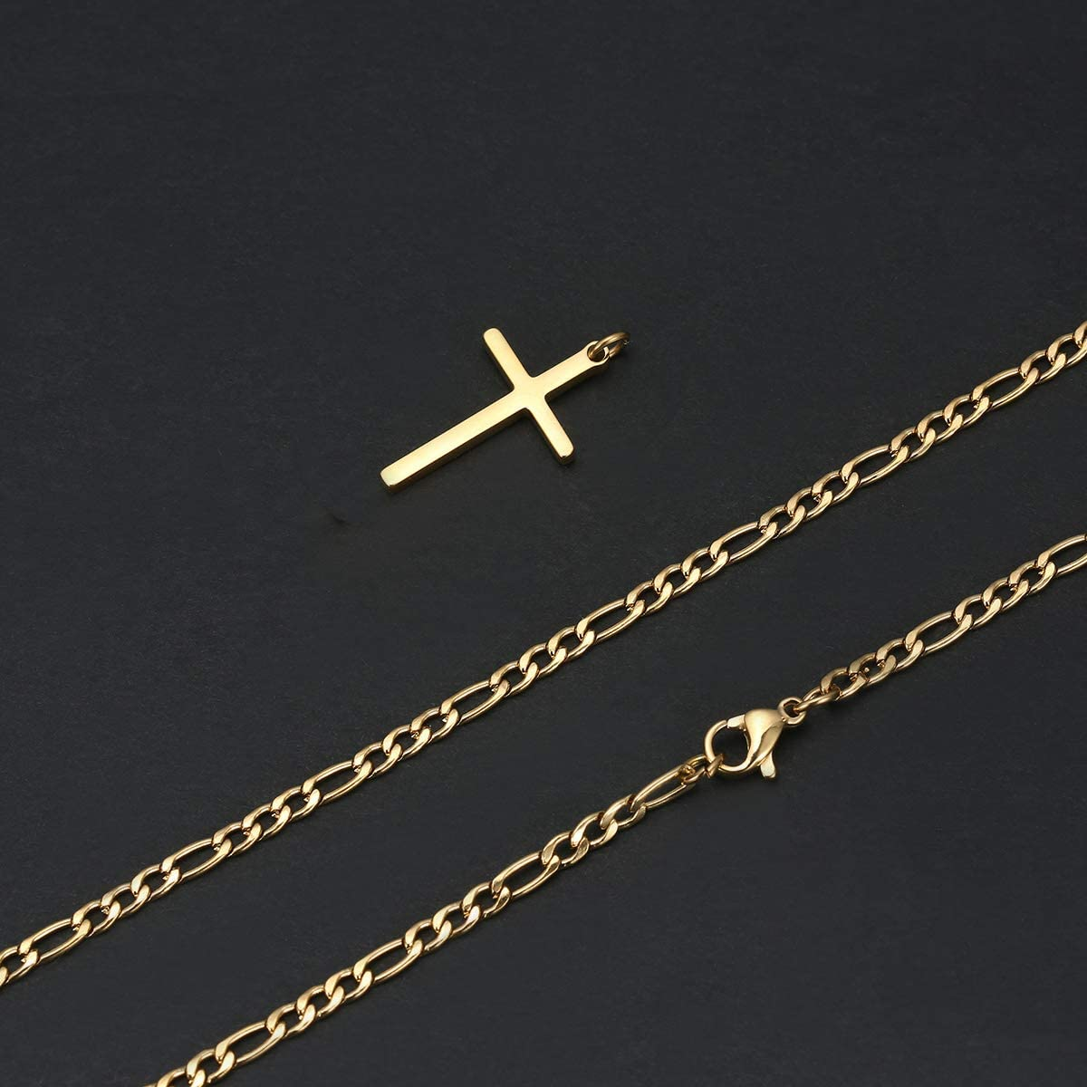 TASBERN Cross Necklace for Men 14K Gold Filled Stainless Steel Polished Plain Cross Pendant Necklace Simple Religious Jewelry Gift for Son Boy