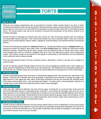 torts study guide This is a study guide for the subject laws1061 - torts this study guide is based on the 2011 course, and is structured according to the following topics (based on course outline): duty of care duty - psychiatric injury duty - pure economic loss duty - public authorities duty - occupiers' liability.