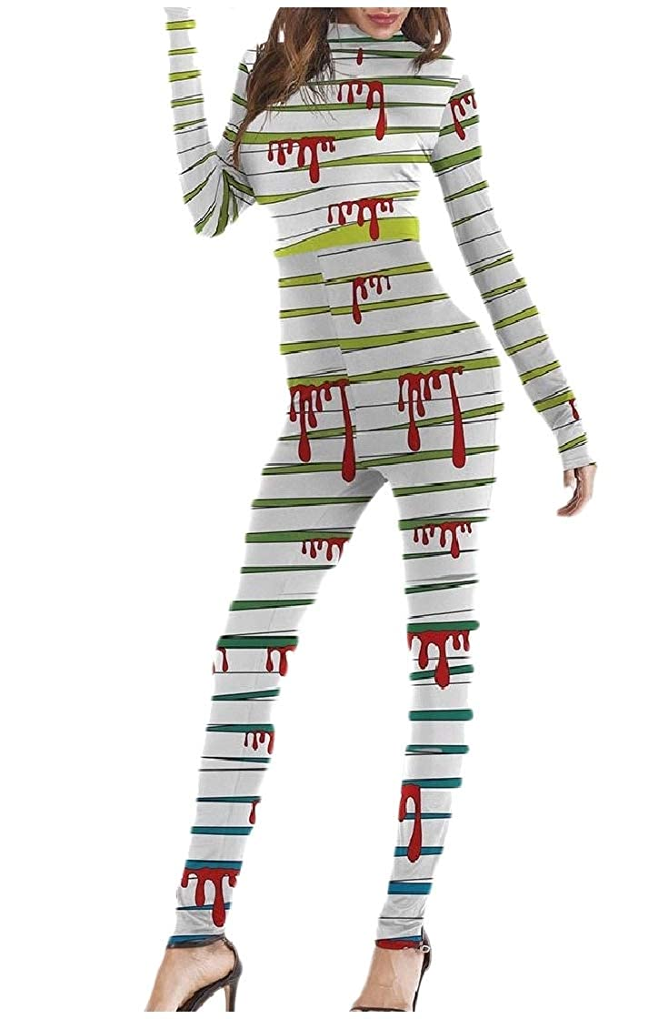 YUNY Womens Cosplay Pinstripe Bodycon Casual Halloween Party Jumpsuit 1 S