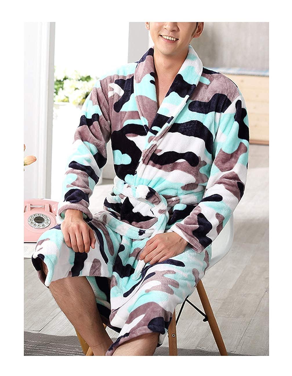 Femaroly Men Flannel Nightgown Autumn Winter Thick Bathrobe Warm Robe