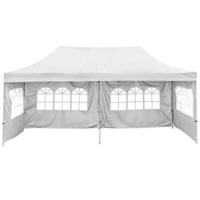 GDY 10x20 Feet Pop Up Outdoor Canopy Tent, Commercial Instant Gazebos, Portable Party Canopies with Removable Walls (White with 4 Sidewalls) : Garden & Outdoor