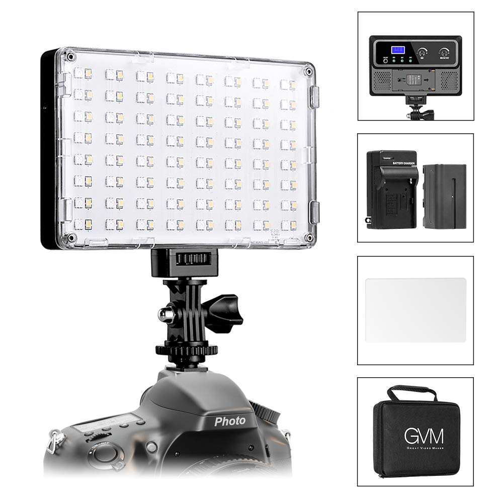 GVM RGB LED Camera Light Full Color Output Video Lights with APP Control CRI97 Dimmable 3200K-5600K Light Panel for YouTube DSLR Camera Camcorder Photo Lighting, with Battery, Filter, LCD Display by GVM Great Video Maker (Image #7)