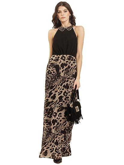 afd34c3dc6 trendy divva Sleeveless Animal Print Halter Neck Maxi Dress-TD-D7001-Black-