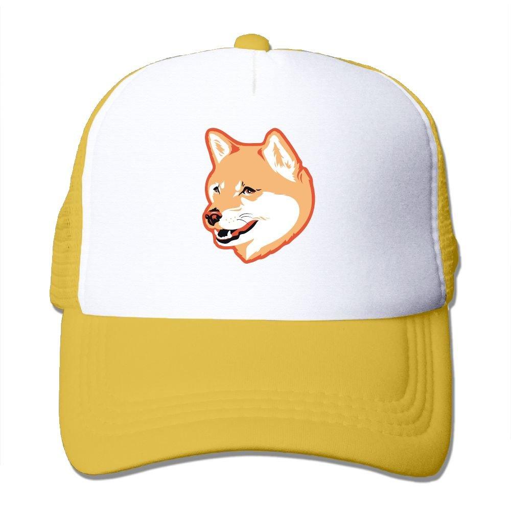 Mesh Baseball Caps Cute Dog Head Shiba Adjustable Sports Trucker Sun Hats For Outdoor