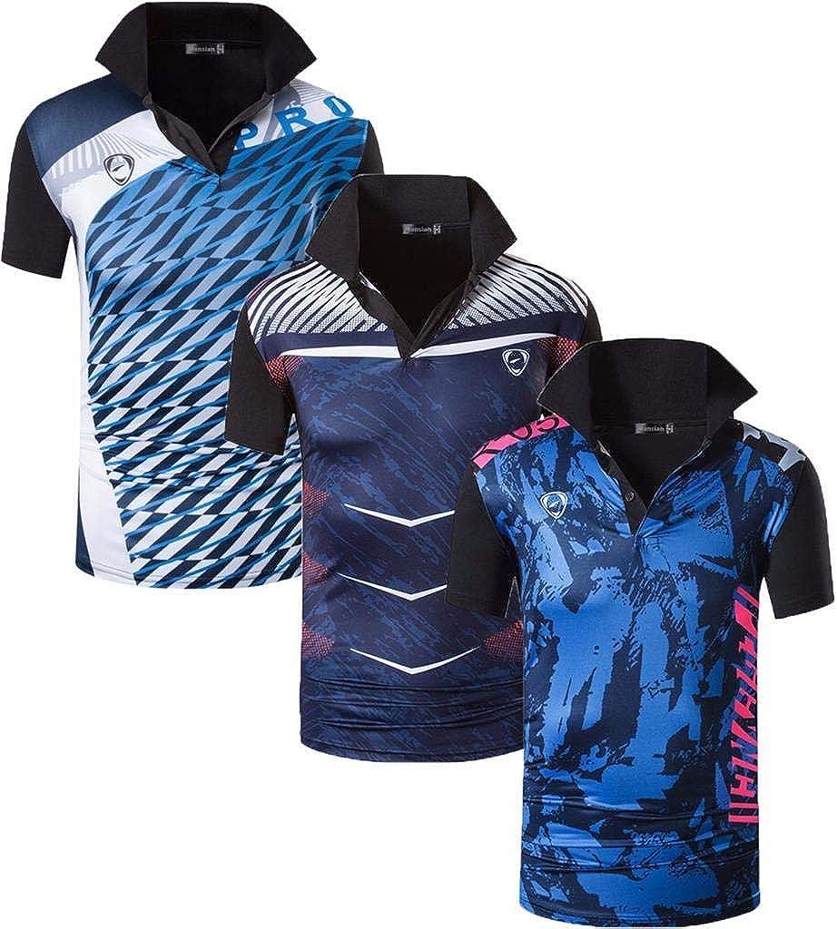 jeansian Hombre 3 Mix Packs Deporte Camiseta de Mangas Cortas T-Shirt Polo LSL195 Pack