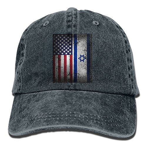 Men Costume Israeli (Buyiyang-01 Men's Or Women's American Israeli Flag Denim Fabric Baseball Hat Adjustable Hip Hop)