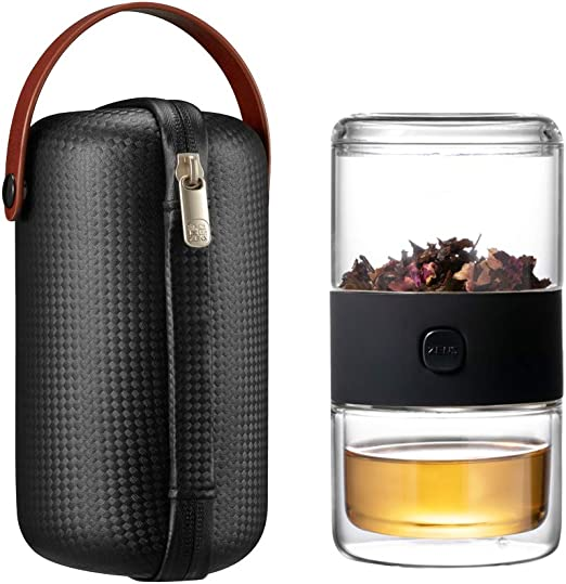 Travel Bottle Tea Filter Coffee Mug Portable 200ml Glass Tea Infuser