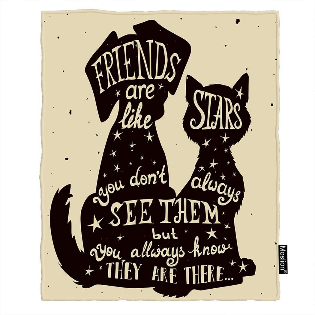 Moslion 猫 犬 スロー ブランケット 子猫 子犬 友達 友情 祝日 引用毛布 ホーム 装飾 フランネル 暖かい 旅行 ブランケット 30x40インチ ペット犬猫用 60*80 Inch BLANKETAZX-C178 B07L1CYNVH C177-1 60*80 Inch