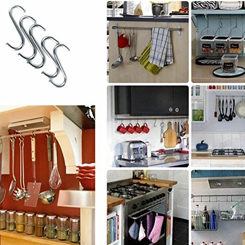 S Hooks 3 inch S Shaped Utility Hooks, Topick 30 Pack Hanging Hooks Stainless Steel Metal Hanger Heavy Duty Hooks, Storage Holders for Kitchen, Work Shop, Bathroom, Plants, Office, Garden (3in Bold) by Topick (Image #5)